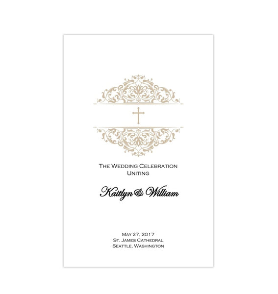 Catholic Church Wedding Program Grace Champagne Printable DIY