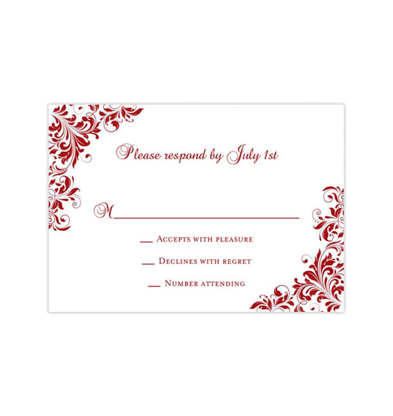 Wedding Response Cards Kaitlyn Red Printable DIY Templates