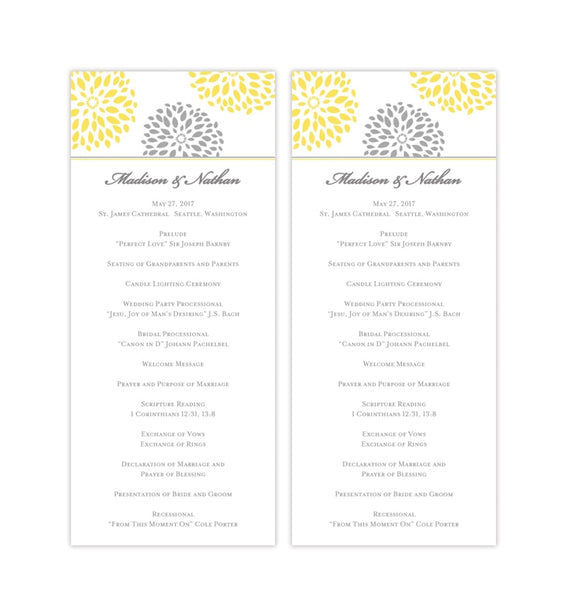 Slim Wedding Program Floral Petals Yellow Gray Printable DIY