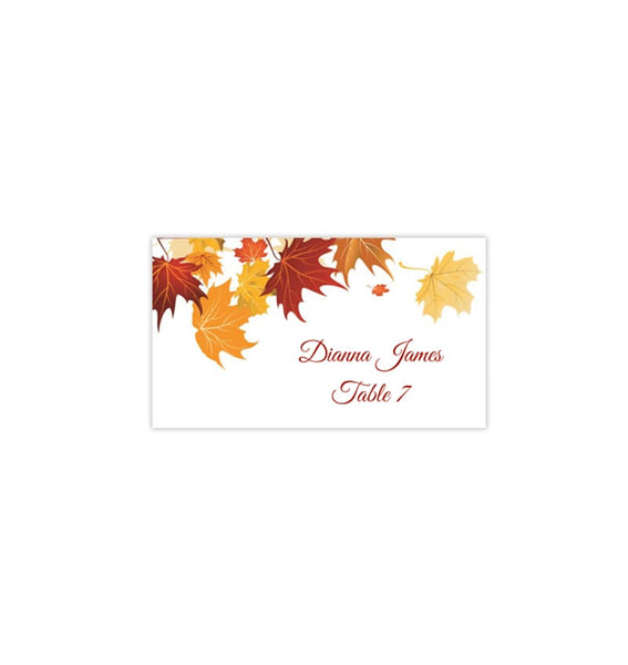 Printable Wedding Place Cards Falling Leaves Flat Printable DIY Template Cards