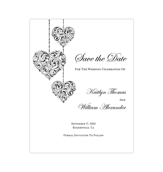 Wedding Save the Date Cards Hearts Black White Printable DIY