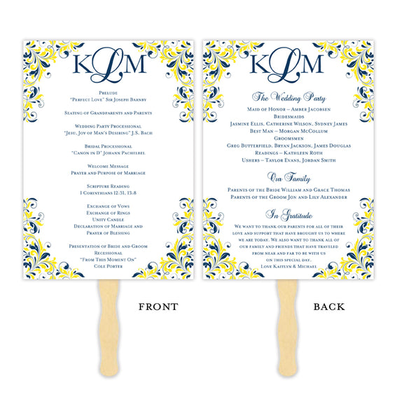 Wedding Program Fan Kaitlyn Navy Blue Lemon Yellow Monogram Printable DIY Templates