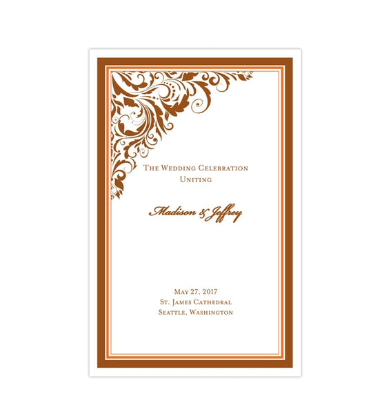 Wedding Program Template Brooklyn Bronze Orange Printable DIY