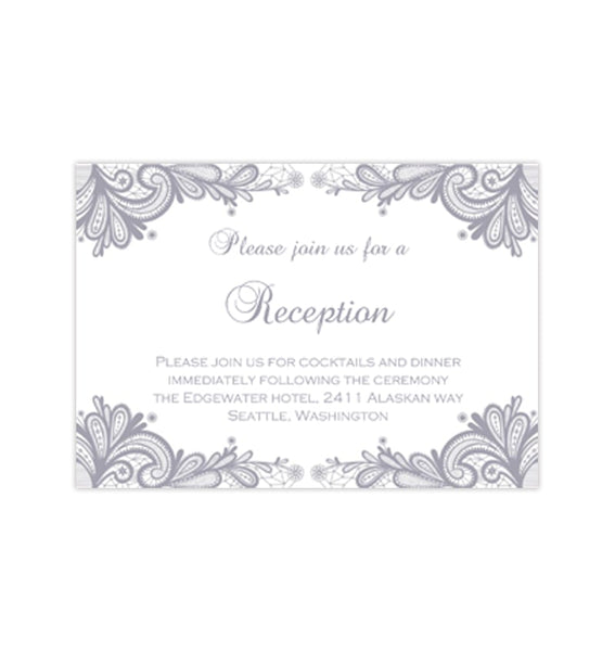 Wedding Reception Invitations Vintage Lace Silver Gray Printable Templates