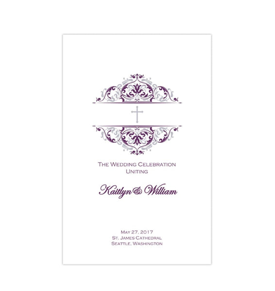 Catholic Church Wedding Program Grace Purple Eggplant Silver Printable DIY
