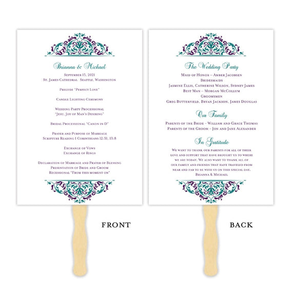 Wedding Program Fan Grace Peacock Colors Purple Turquoise Teal Printable DIY Template