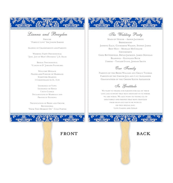Wedding Program Fan Damask Cobalt Blue Gray Printable DIY Template