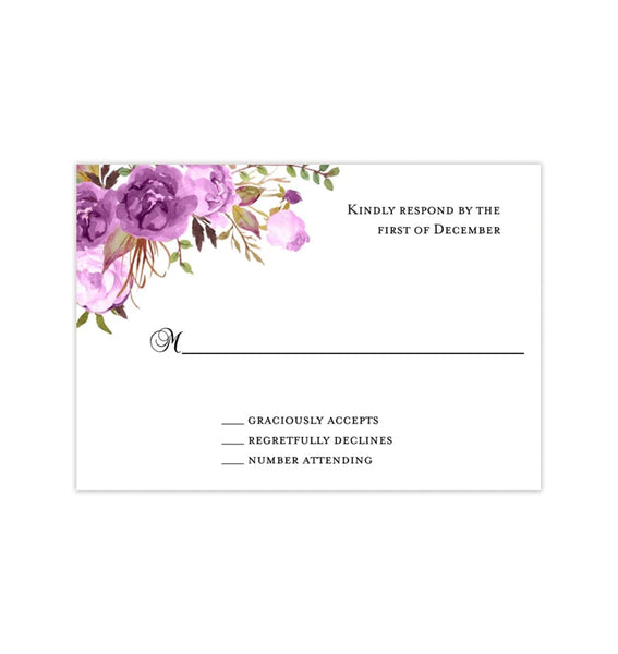 Wedding Response Cards Purple, Lavender & Lilac Romantic Blossoms Printable DIY Templates