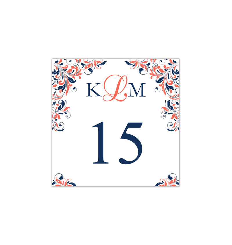 Brilliant Printable Table Number Template Kaitlyn Navy Blue Coral Tent Download Free Architecture Designs Embacsunscenecom