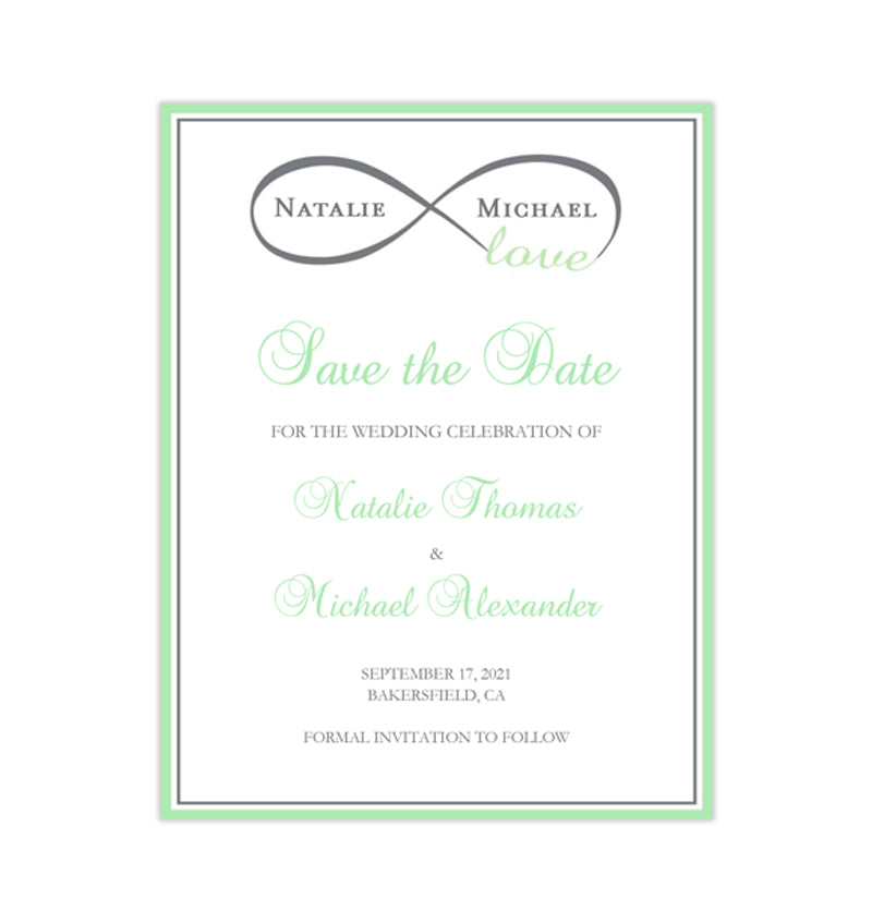 Wedding Save The Date Cards Infinity Love Mint Green Gray