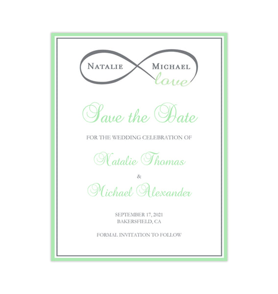 Wedding Save the Date Cards Infinity Love Mint Green Gray Printable DIY