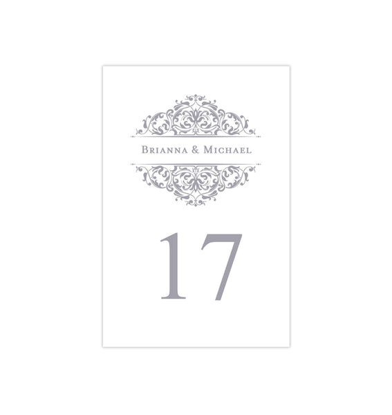 Wedding Table Number Template Grace Gray Flat Printable DIY