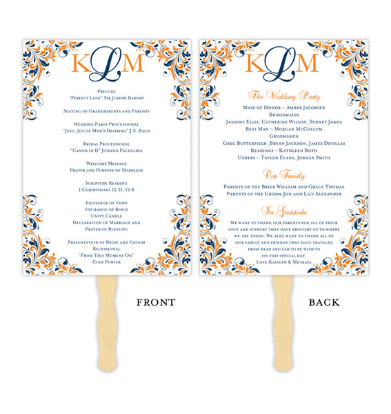 Wedding Program Fan Kaitlyn Navy Blue Orange Monogram Printable DIY Templates