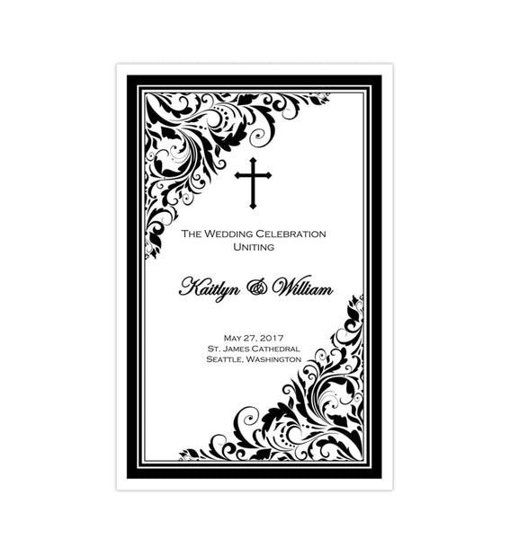 Catholic Church Wedding Program Brooklyn Black White Printable DIY