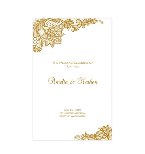 Wedding Program Template Vintage Lace Gold Printable DIY