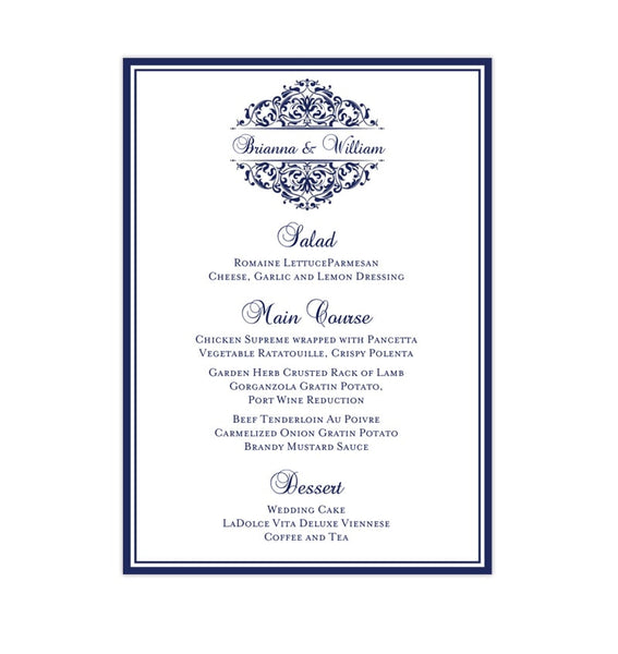 Wedding Reception Menu Template Grace Navy Blue 5x7 Printable DIY