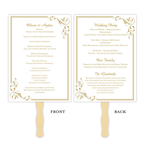 Wedding Program Fan Elegance Gold Printable DIY Template