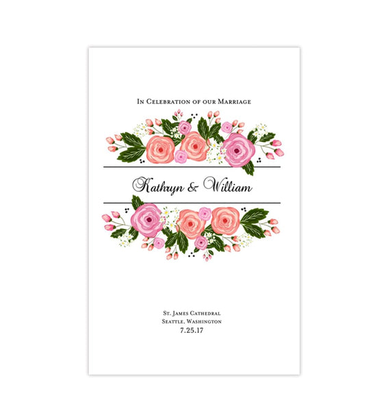 Wedding Program Template Floral Bliss Summer Garden Printable DIY