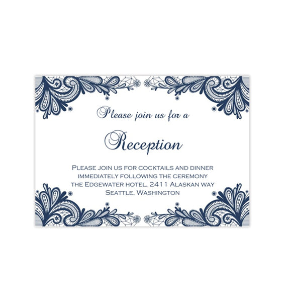 Wedding Reception Invitations Vintage Lace Navy Blue Printable Templates
