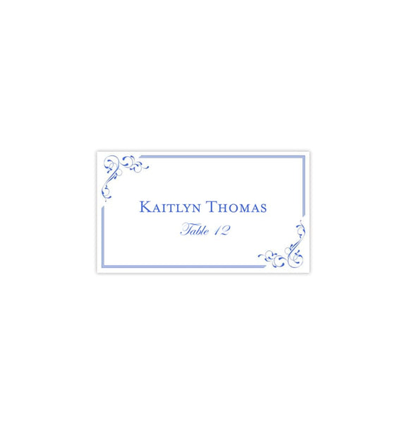 Printable Wedding Place Cards Royal blue Flat Printable DIY Templates