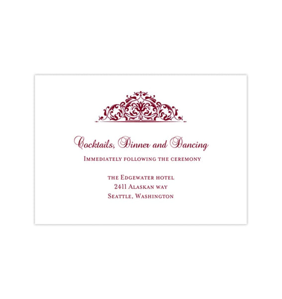 Wedding Reception Invitations Grace Burgundy Cranberry Wine Printable Templates