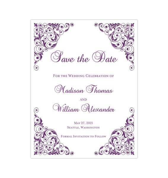 Wedding Save the Date Cards Isabella Purple Printable DIY