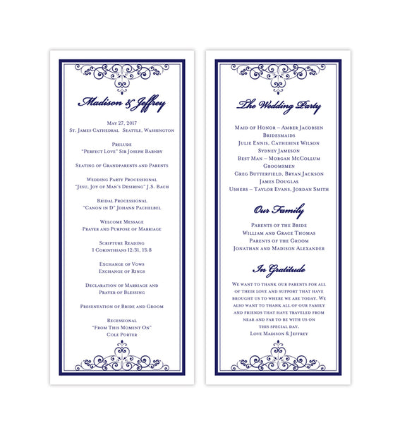 Slim Wedding Program Vintage Navy Blue Printable DIY