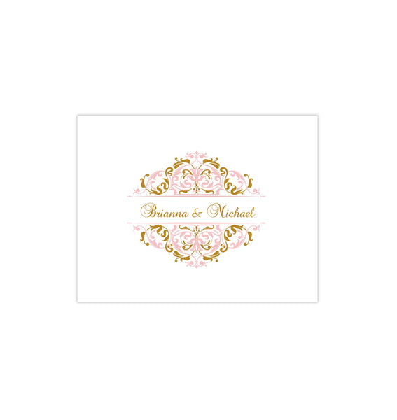 Wedding Thank You Card Grace Blush Pink Gold