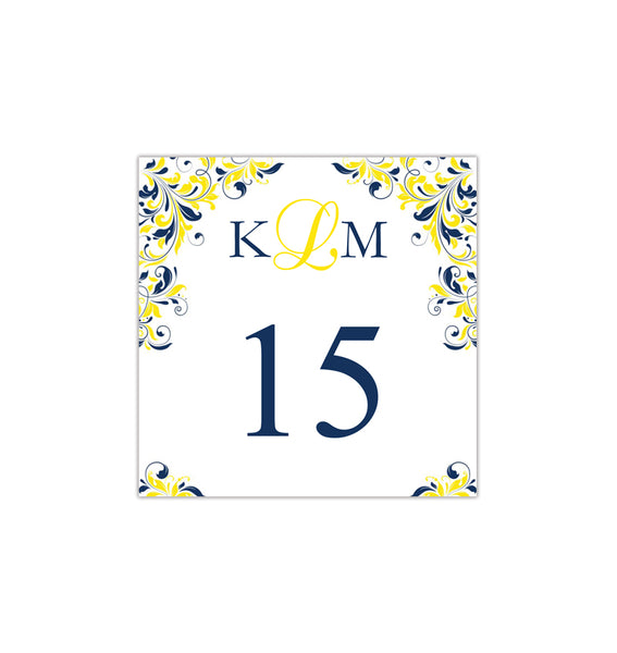 Printable Table Number Template Kaitlyn Navy Blue Yellow Tent DIY Wedding