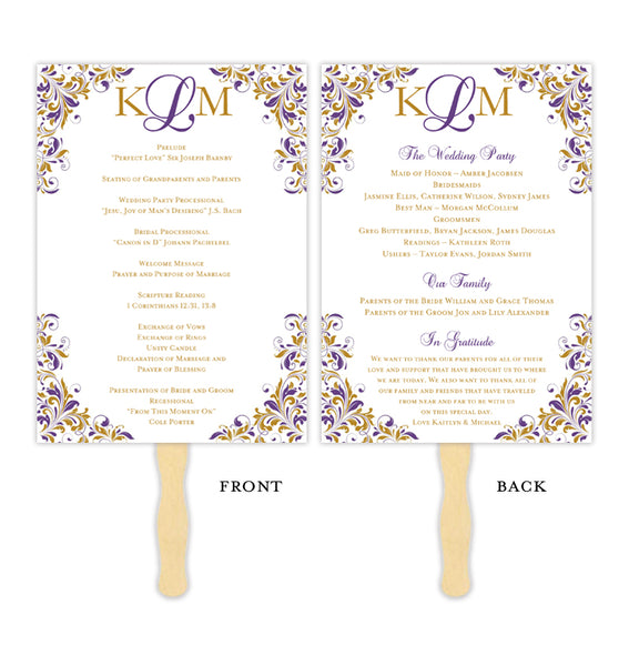 Wedding Program Fan Kaitlyn Purple Gold Monogram Printable DIY Templates