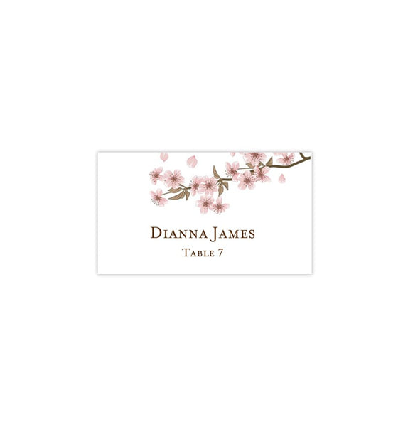 Printable Wedding Place Cards Cherry Blossom Flat Printable DIY Templates