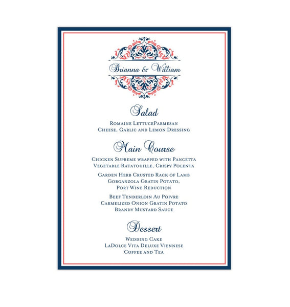 Wedding Reception Menu Template Grace Navy Blue Coral 5x7 Printable DIY