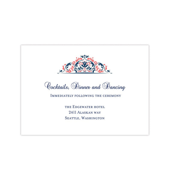 Wedding Reception Invitations Grace Coral Navy Blue Printable Templates