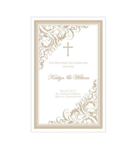 Catholic Church Wedding Program Brooklyn Champagne Printable DIY