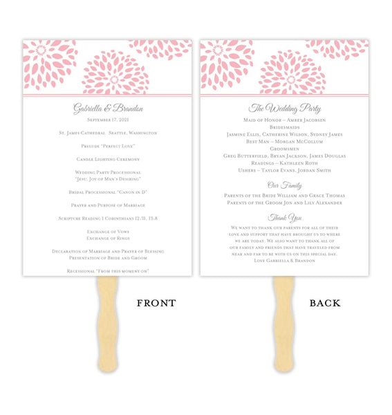 Wedding Program Fan Floral Petals Blush Pink Printable DIY Template
