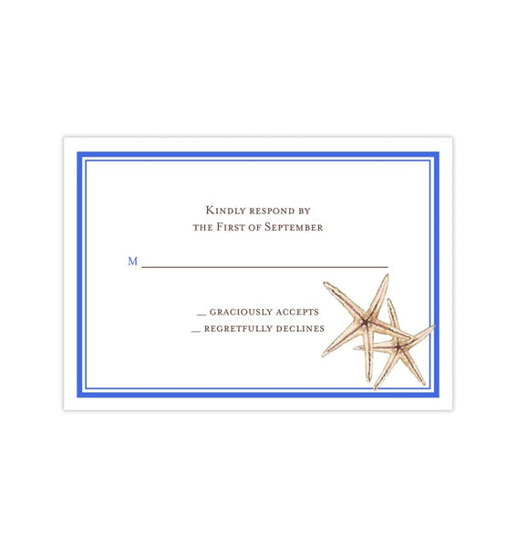 Wedding Response Cards Beach Starfish Royal Blue Printable DIY Templates