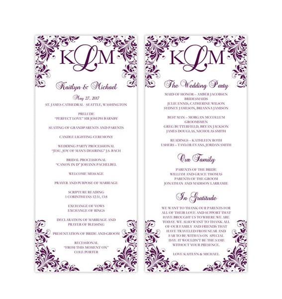 Slim Wedding Program Kaitlyn Purple Printable DIY