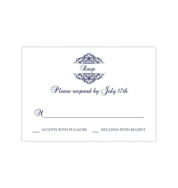 Wedding Response Cards Grace Navy Blue Printable DIY Templates