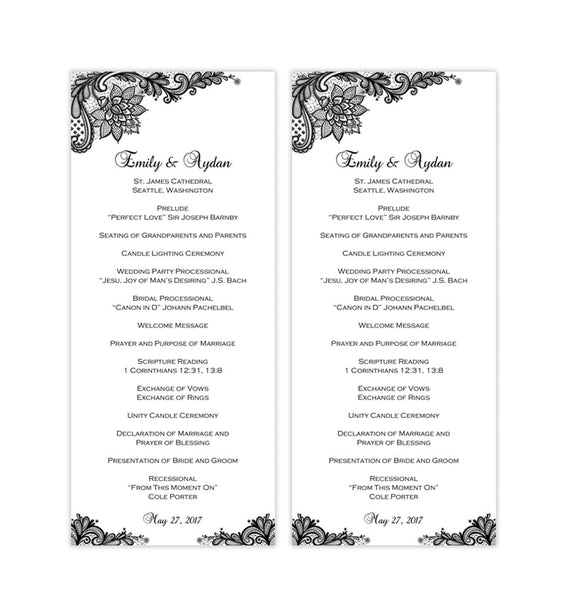 Slim Wedding Program Vintage Lace Black White Printable DIY