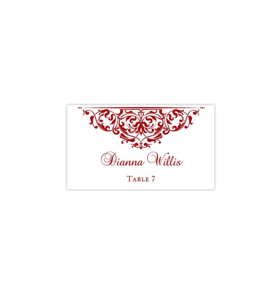 Printable Wedding Place Cards Grace Red Flat DIY Seating Template