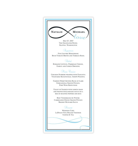 Wedding Menu Card Infinity Love Sky Blue Charcoal Gray Tea Length Printable DIY Templates
