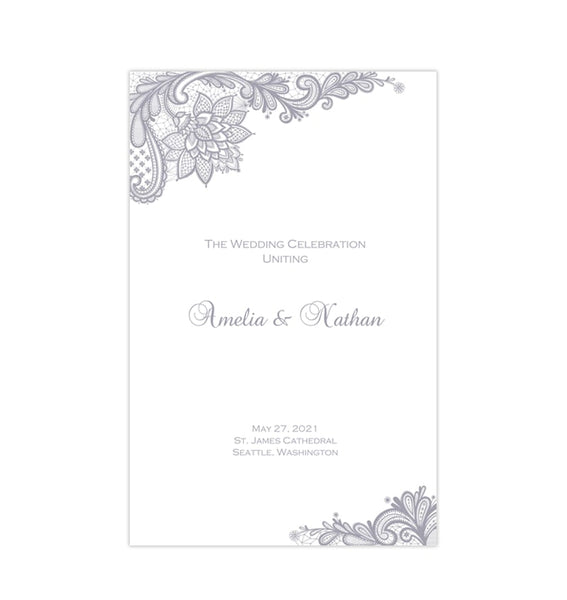 Wedding Program Template Vintage Lace Silver Gray Printable DIY