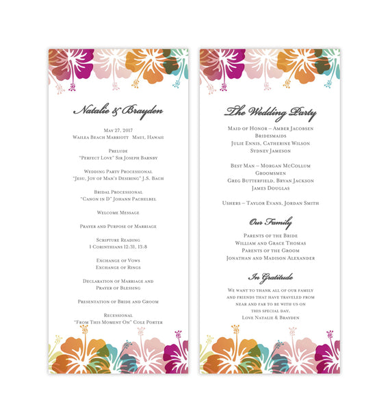 Slim Wedding Program Hibiscus Tropical Destination Printable DIY Templates