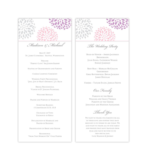 Slim Wedding Program Floral Petals Blush Lavender Silver Printable DIY