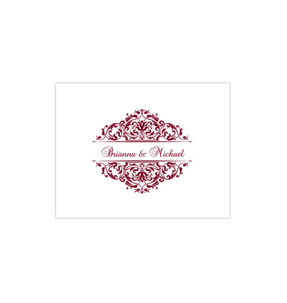 Wedding Thank You Card Grace Burgundy Printable DIY Template