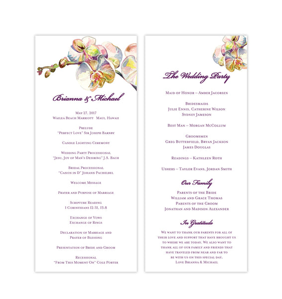 Slim Wedding Program Template Orchid Printable DIY Templates