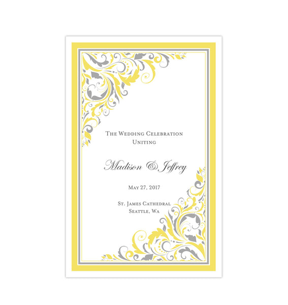Wedding Program Template Brooklyn Yellow Gray Printable DIY
