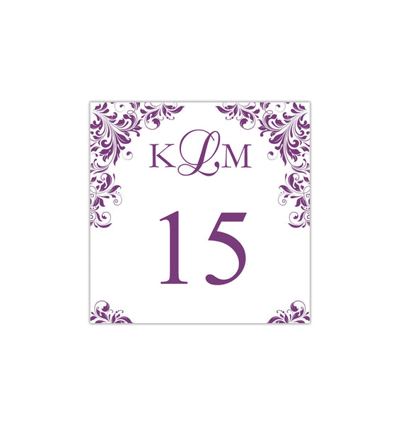 Printable Table Number Template Kaitlyn Purple Tent DIY Wedding