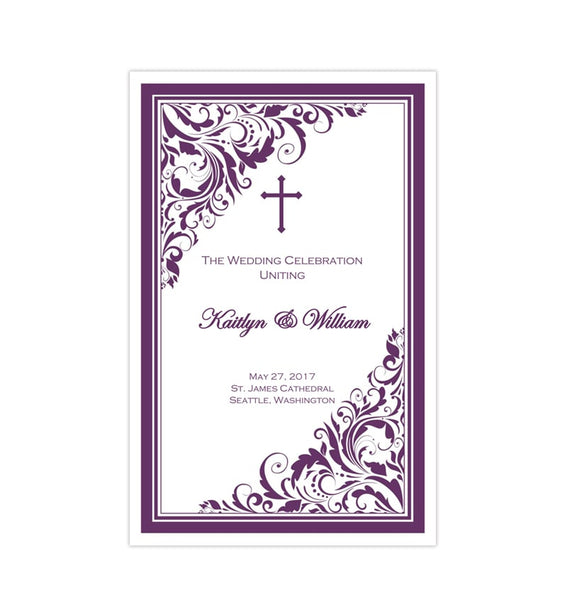 Catholic Church Wedding Program Brooklyn Eggplant Printable DIY