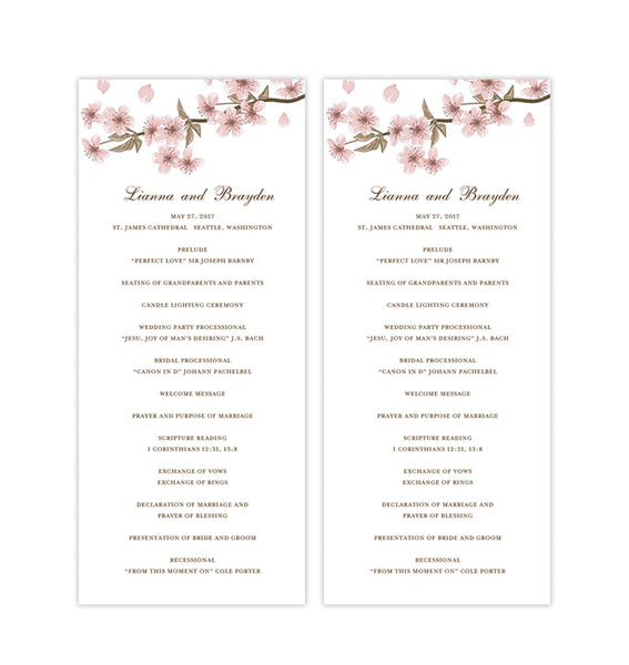 Slim Wedding Program Cherry Blossom Printable DIY
